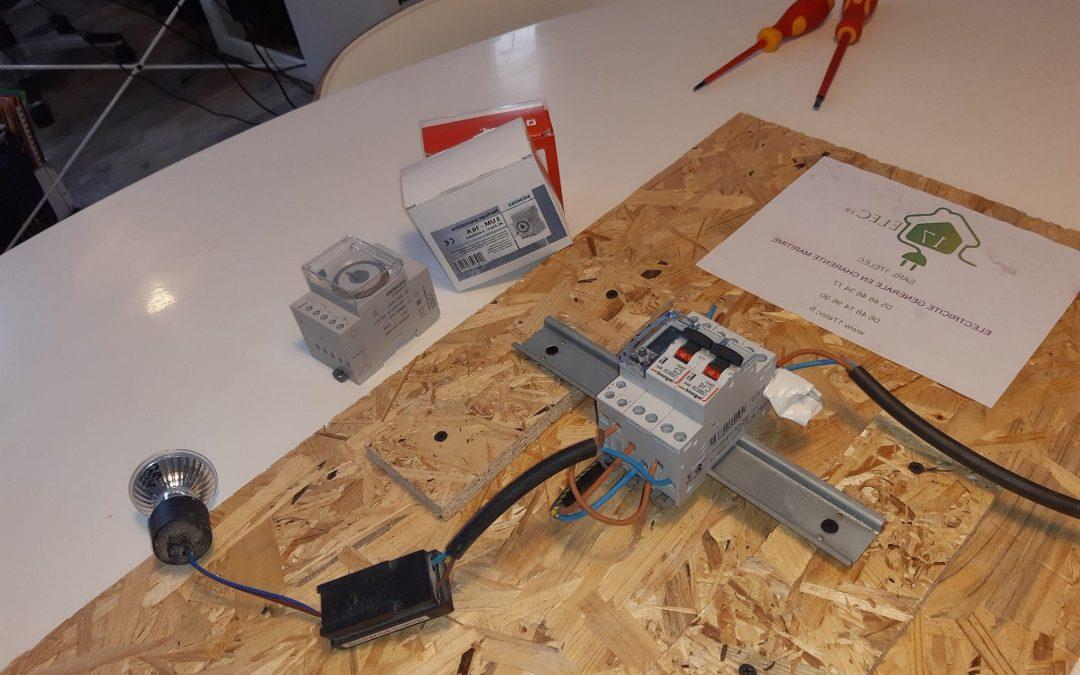 Branchement d'un contacteur ballon d'eau chaude couplé à une horloge digitale Legrand